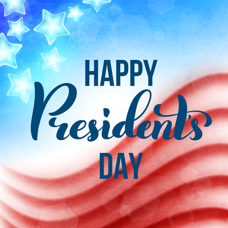 Happy Presidents Day in USA card. Template poster with handwritten lettering. Vector illustration. Ilustrace