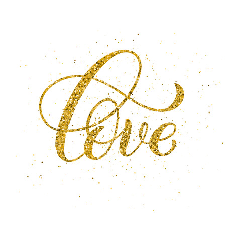 Love hand written lettering. Golden inspirational quote. Vector illustration
