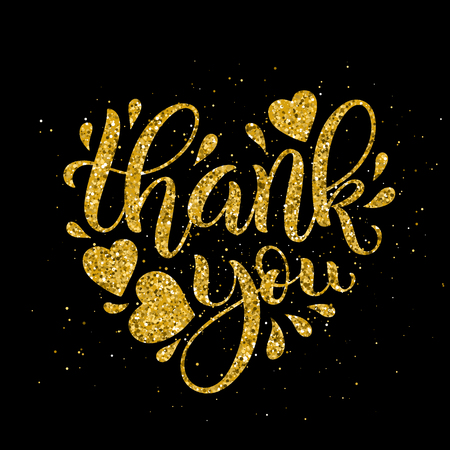 Thank You golden lettering. Hand drawn heart shaped calligraphy. Vector illustration.
