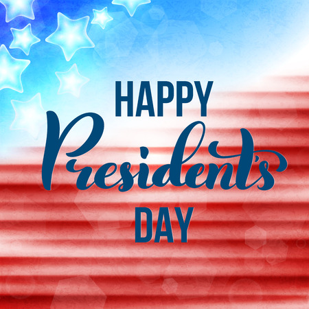 Happy Presidents Day in USA card. Template poster with handwritten lettering. Vector illustration. Illustration