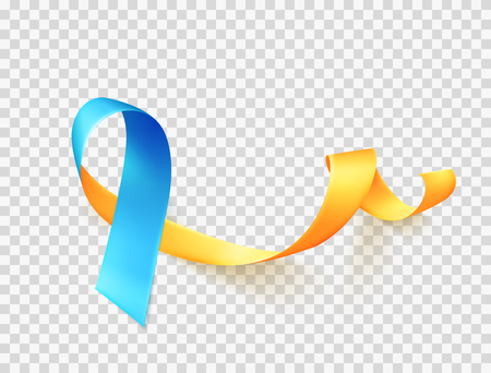 World Down Syndrome day. March 21. Realistic blue yellow ribbon symbol over transparent background. Template for poster. Vector illustration.