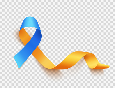 World Down Syndrome day. March 21. Realistic blue yellow ribbon symbol over transparent background. Template for poster. Vector illustration. Ilustración de vector
