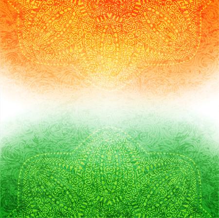 Elegant shiny Indian flag theme with mandala. Vector illustration.