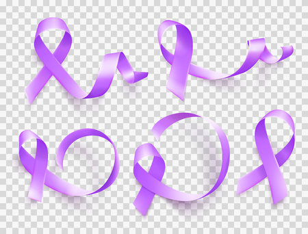 Set of realistic purple ribbons symbol of World Epilepsy day. March 26. Vector.