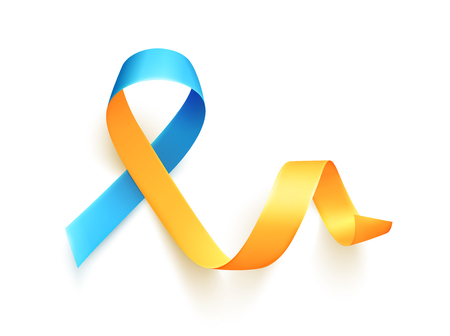 World Down Syndrome day. March 21. Realistic blue yellow ribbon symbol. Template for poster. Vector illustration.