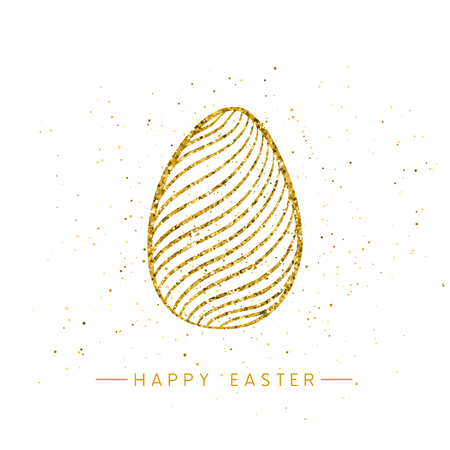 Happy Easter banner background template with beautiful golden egg. Vector.