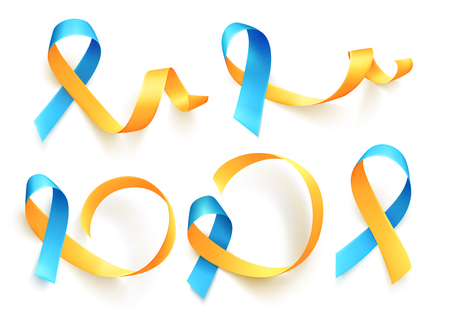 World Down Syndrome day. March 21. Set of realistic blue yellow ribbons symbol. Template for poster. Vector.