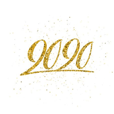 Happy New Year 2020 poster with hand drawn lettering. Illusztráció