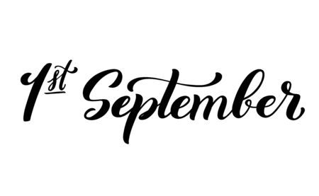 Handdrawn lettering 1 september. Design template for school theme.