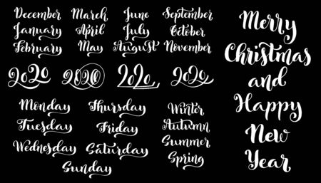 Big vector handdrawn calligraphic monthly set with months, year 2020,seasons and days of week. Vector