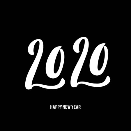 Happy New Year 2020 poster with hand drawn lettering. Ilustracja