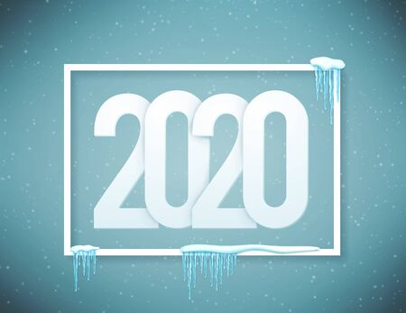 2020 Happy New Year poster decorated with realistic snow and icicles. Vector.