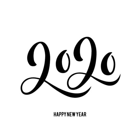 Happy New Year 2020 card with hand drawn lettering. Ilustracja