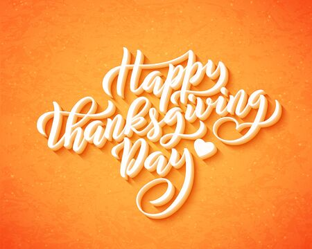 Hand drawn Happy Thanksgiving Day lettering typography poster. Vector.