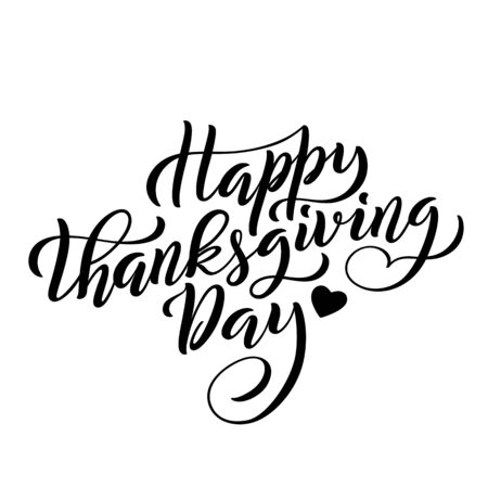 Hand drawn Happy Thanksgiving Day lettering typography poster. Vector illustration.