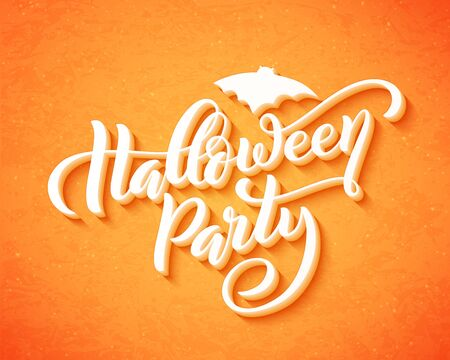 Happy halloween party. Hand drawn creative calligraphy design for holiday greeting card and invitation, flyers, posters, banner. Vector illustration.