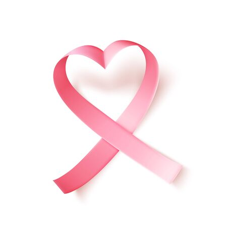 Heart shaped satin pink ribbon over white background. Realistic medical symbol for national breast cancer awareness month in october. Vector illustration.
