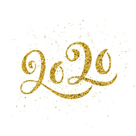 Happy New 2020 Year poster with lettering composition. Seasonal flyers and greetings cards for Christmas holydays. White background and gold sparkling font. Vector illustration. Ilustracja
