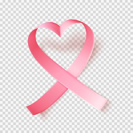 Symbol of world breast cancer awareness month in october . Realistic pink silk ribbon over transparent background. Heart shaped. Vector illustration.