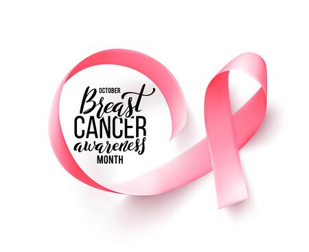 Pink ribbon. Symbol of world breast canser awareness month in october. Vector illustration. Ilustracja
