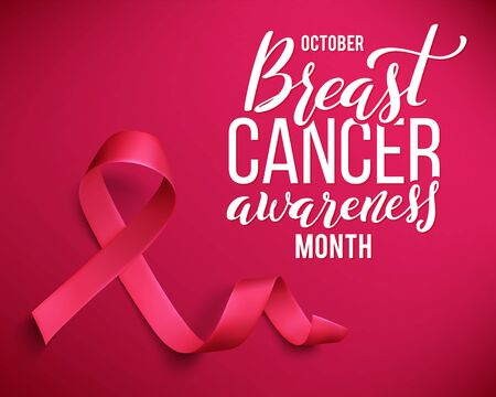 Realistic pink ribbon. Symbol of world breast canser awareness month in october. Vector illustration.