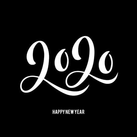 Happy New 2020 Year poster with lettering composition. Seasonal flyers and greetings cards for Christmas holydays. typography. Black background. Vector illustration.