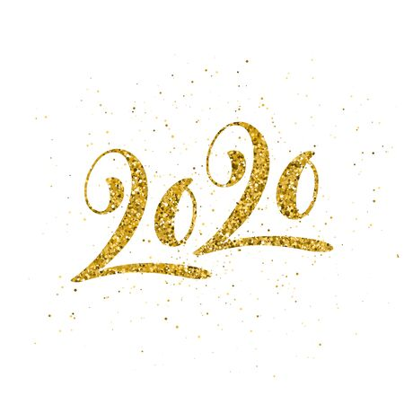 Happy New 2020 Year poster with lettering composition. Seasonal flyers and greetings cards for Christmas holydays. White background and gold sparkling font. Vector illustration. 向量圖像