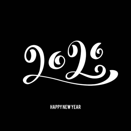 Happy New 2020 Year poster with lettering composition. Seasonal flyers and greetings cards for Christmas holydays. typography. Vector illustration. Illusztráció