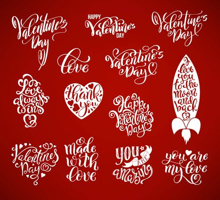 Happy Valentines Day big set of calligraphic quotes. Templates for greeting cards, print design, stickers with handdrawn typography. Hand lettering isolated over red background. Vector Illustration.