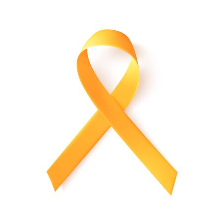 Realistic gold ribbon. World childhood cancer symbol 15th of february, vector illustration. Template for poster for cancer awareness month in september.