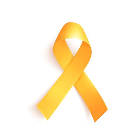 World childhood cancer symbol 15th of february, vector illustration. Realistic gold ribbon. Template for poster for cancer awareness month in september.