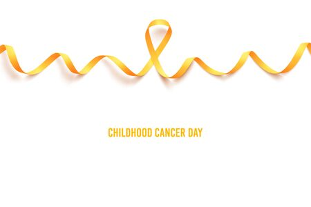 International childhood cancer symbol on 15th of february, vector illustration. Background with realistic gold ribbon. Template poster for cancer awareness month in september. 向量圖像