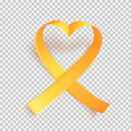 Realistic gold ribbon heart shaped. World childhood cancer symbol 15th of february, vector illustration. Template for poster for cancer awareness month in september.