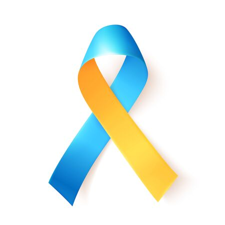 Blue yellow ribbon over white background. Template symbol for World down syndrome day. March 21. Vector illustration. Illusztráció