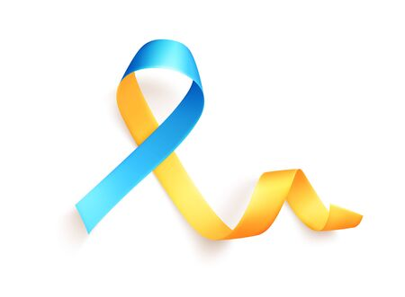 The yellow-blue ribbon is a symbol of the movement for disseminating information about Down Syndrome. White background. Vector illustration.