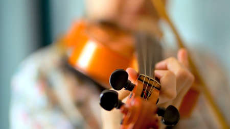 Young woman playing the violin. Hands of musician, close up view. Front view.