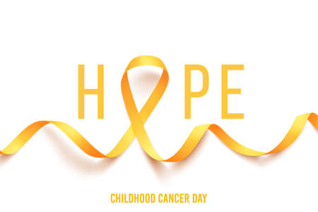 Template poster Hope for cancer awareness month with realistic gold ribbon. World childhood cancer symbol 15th of february, vector illustration.
