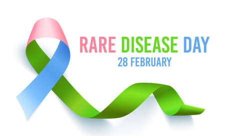 Symbol of rare disease, realistic ribbon heart shaped. Poster template for awareness day on 28 february, vector illustration. Ilustração
