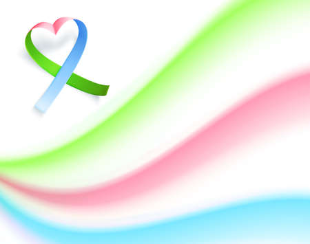 Symbol of rare disease, realistic ribbon heart shaped. Poster template background for awareness day on 28 february, vector illustration.