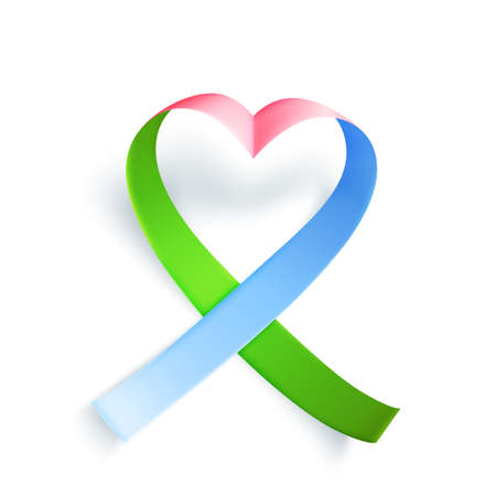 Symbol of rare disease, realistic ribbon heart shaped. Template background for awareness day on 28 february, vector illustration.