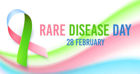 Symbol of rare disease, realistic ribbon. Poster template for awareness day on 28 february, vector illustration.