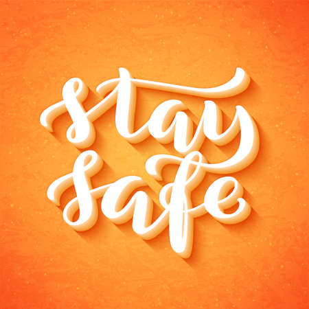 Stay at home and stay safe - Handdrawn typography poster for self quarine times. Health care concept for Covid-19. Home awareness social media campaign and coronavirus prevention. Vector illustration Ilustração