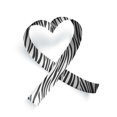 Symbol of rare disease, realistic heart shaped ribbon with zebra print. Template for awareness day on 28 february, vector illustration. Ilustração