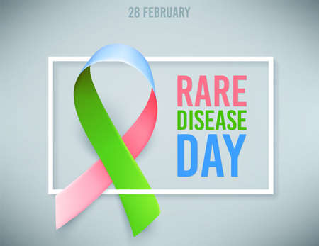 Poster template for awareness day on 28 february, with symbol of rare disease green, pink, blue ribbon. Vector illustration.