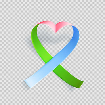 Symbol of rare disease, realistic pink, green, blue ribbon. Template for awareness day on 28 february over transparent background, vector illustration.