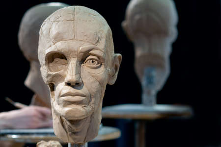 The process of creating ecorche. The sculptor is working. Stock fotó