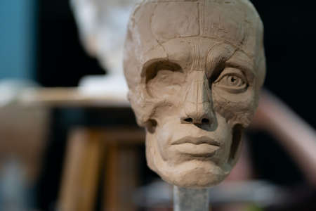 The process of creating ecorche. The sculptor is working. Sculpture of a human head with removed skin. Muscles and bones are shown. Standard-Bild