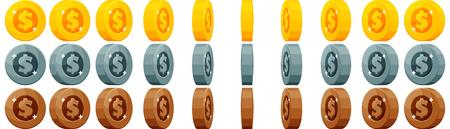 gold and silver coins: Set of gold, silver and bronze coins with spinning animation for game