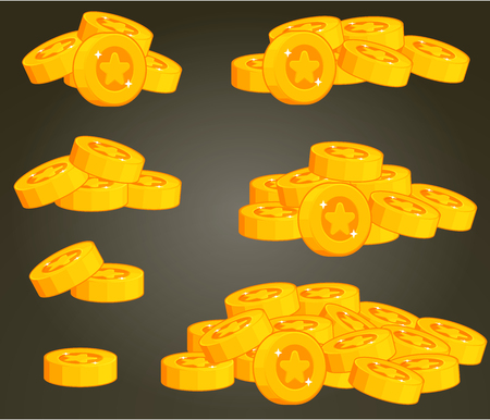 rotative: Set Of Coin Piles For Game User Interface Illustration