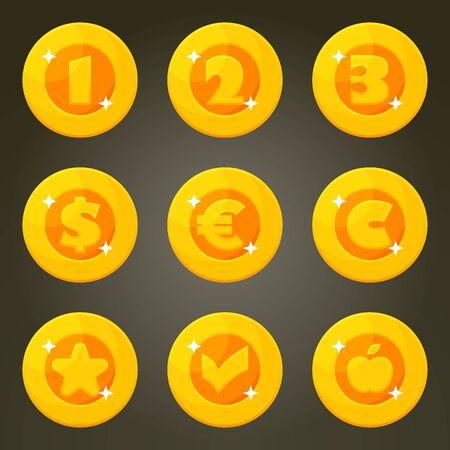 Set Gouden Munt Met Valuta Emblemen